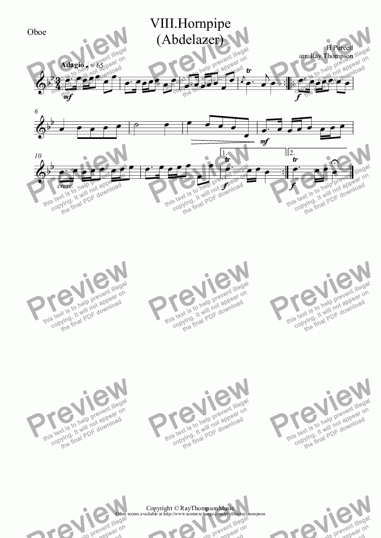 "page one of the Oboe part from Purcell: Suite from Abdelazer: Mvt.VIII.Hornpipe (aka ""Hole in the Wall"")( arr.wind quintet"
