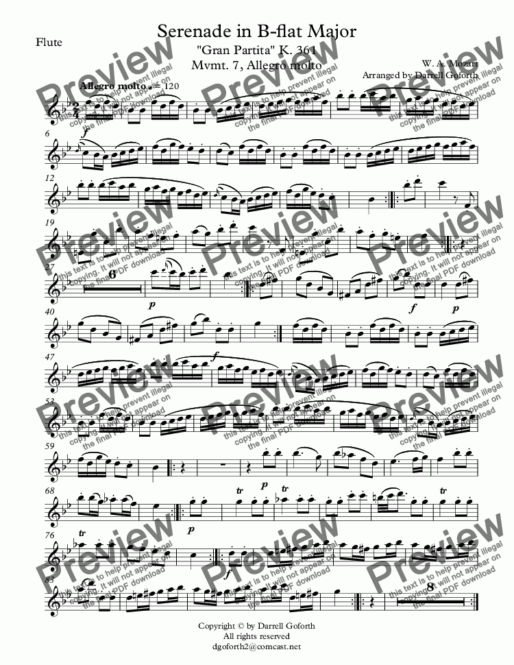 "page one of the Flute part from Serenade in B-flat Major ""Gran Partita"" K. 361 Mvmt. 7, Allegro molto"