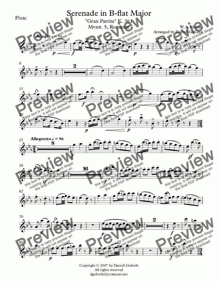 "page one of the Flute part from Serenade in B-flat Major ""Gran Partita"" K. 361 Mvmt. 5, Romanze"