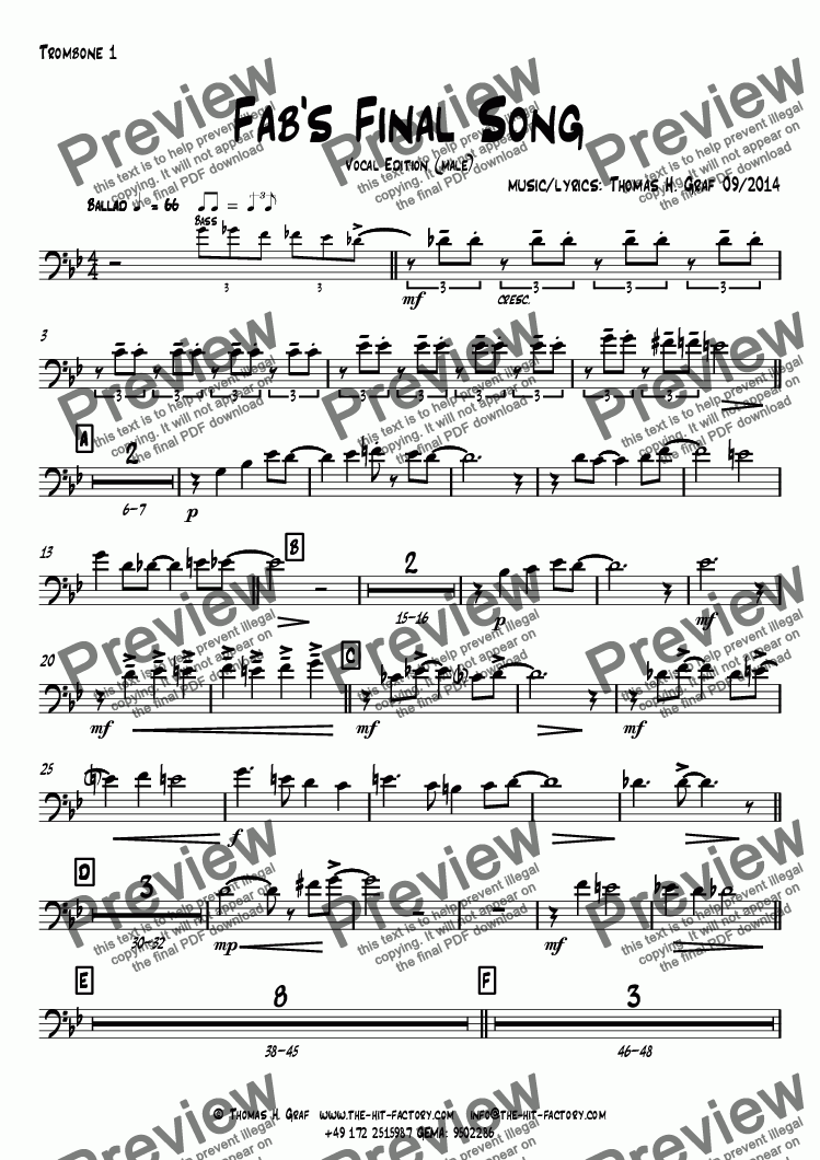 page one of the Trombone 1 part from Fab's Final Song - Big Band - Vocal Edition