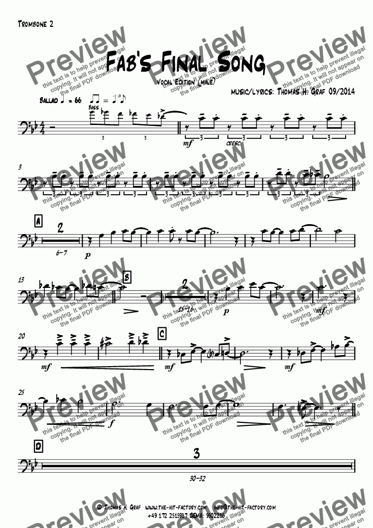 page one of the Trombone 2 part from Fab's Final Song - Big Band - Vocal Edition