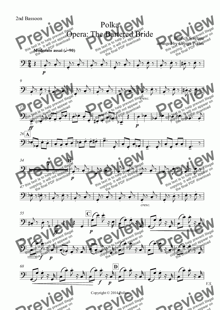 page one of the 2nd Bassoon part from Polka from Opera: The Bartered Bride (CB)