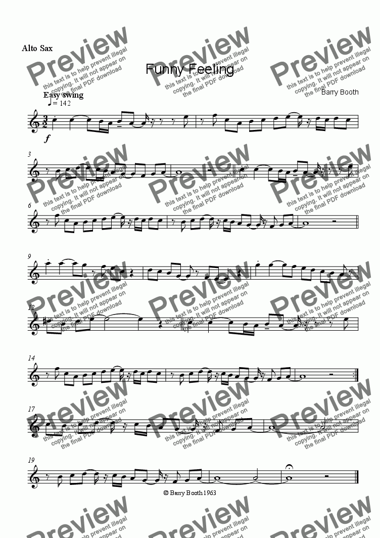 page one of the Alto saxophone part from Funny Feeling