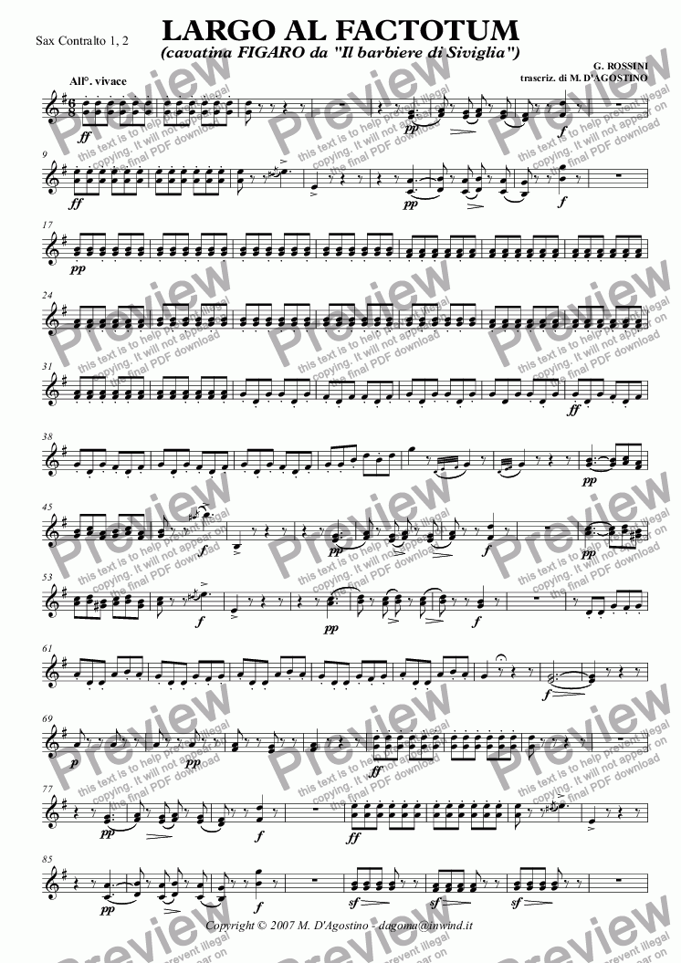 page one of the Sax Contralto 1, 2 part from LARGO AL FACTOTUM