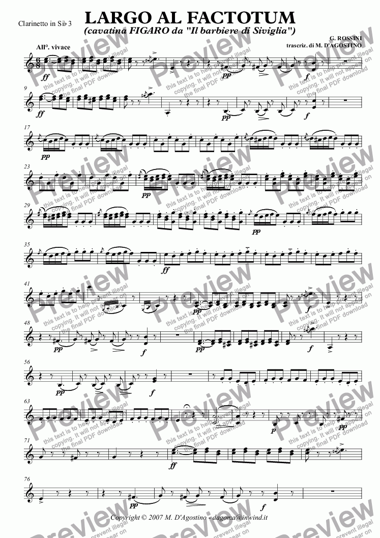 page one of the Clarinetto in Si^b 3 part from LARGO AL FACTOTUM