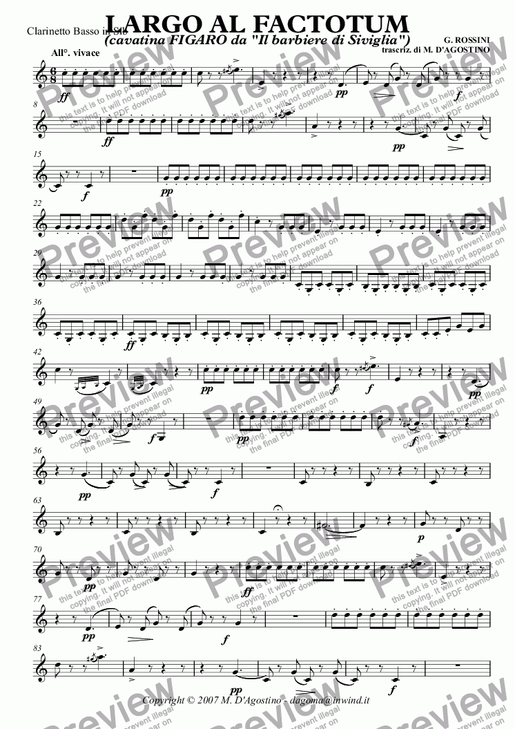 page one of the Clarinetto Basso in Sib part from LARGO AL FACTOTUM