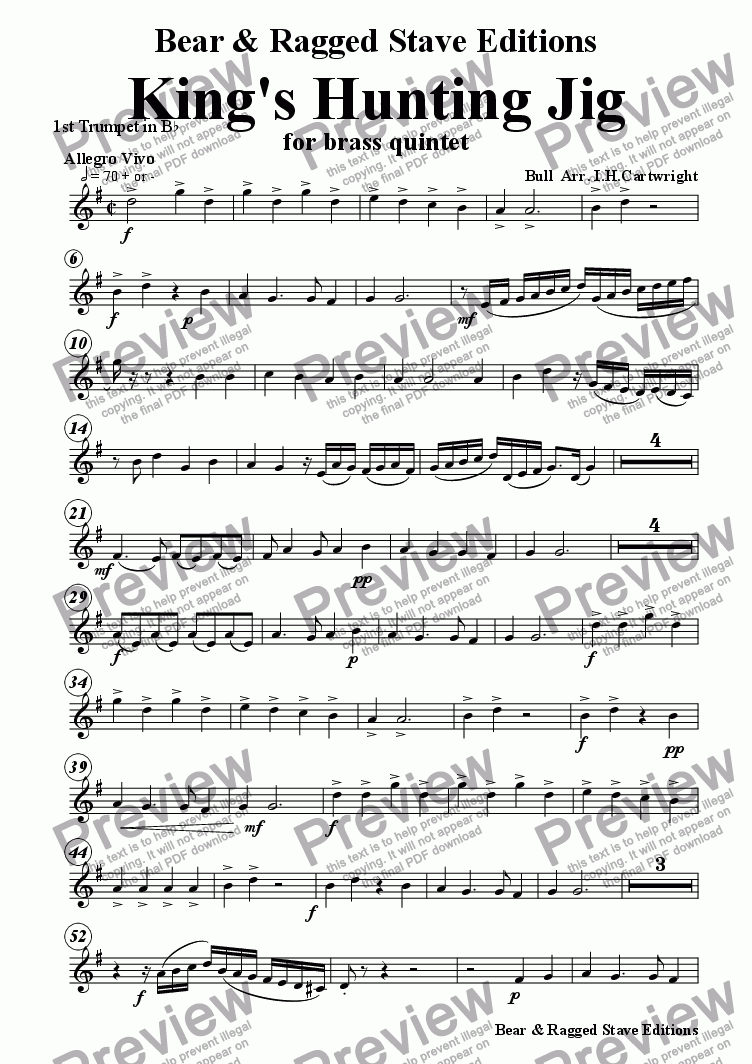 page one of the 1st trumpet Bb part from Kings Hunting Jig for brass quintet