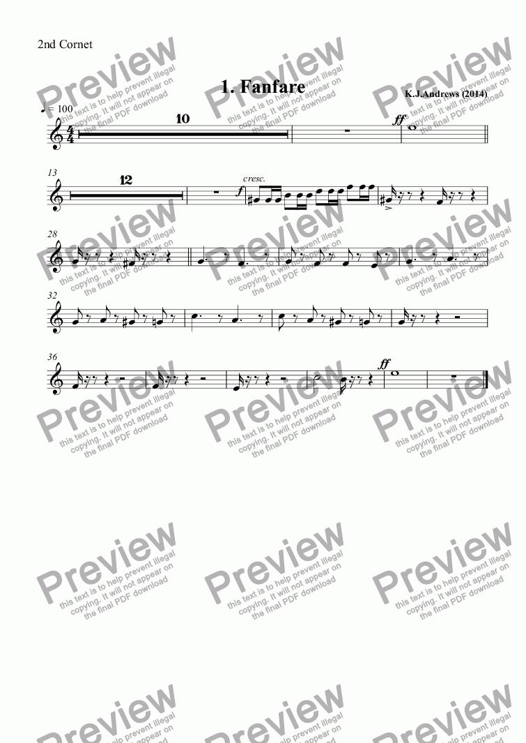 page one of the 2nd Cornet part from Suite for Brass Band: 1.Fanfare