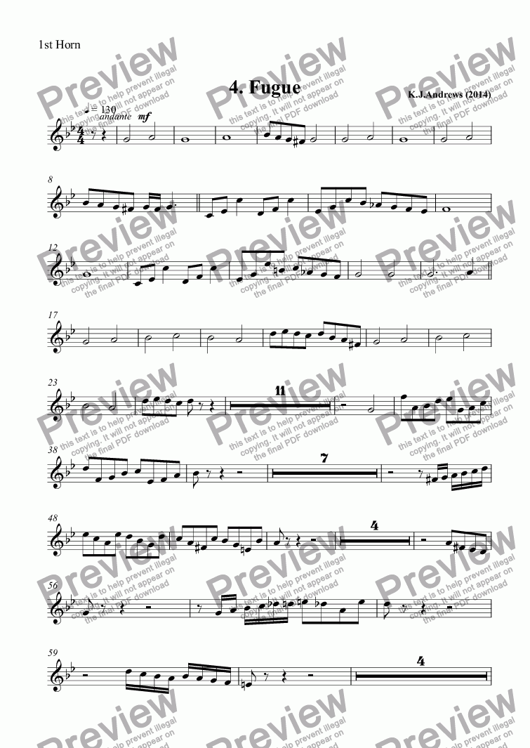 page one of the 1st Horn part from Suite for Brass Band: 4.Fugue