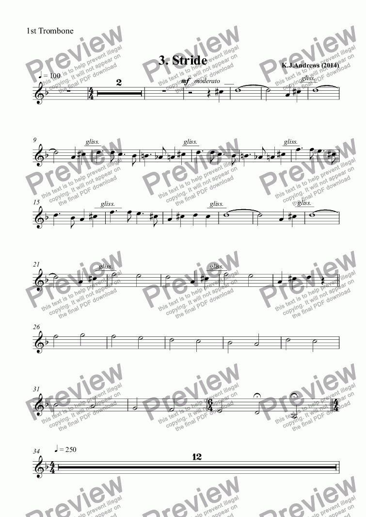 page one of the 1st Trombone part from Suite for Brass Band: 3.Stride