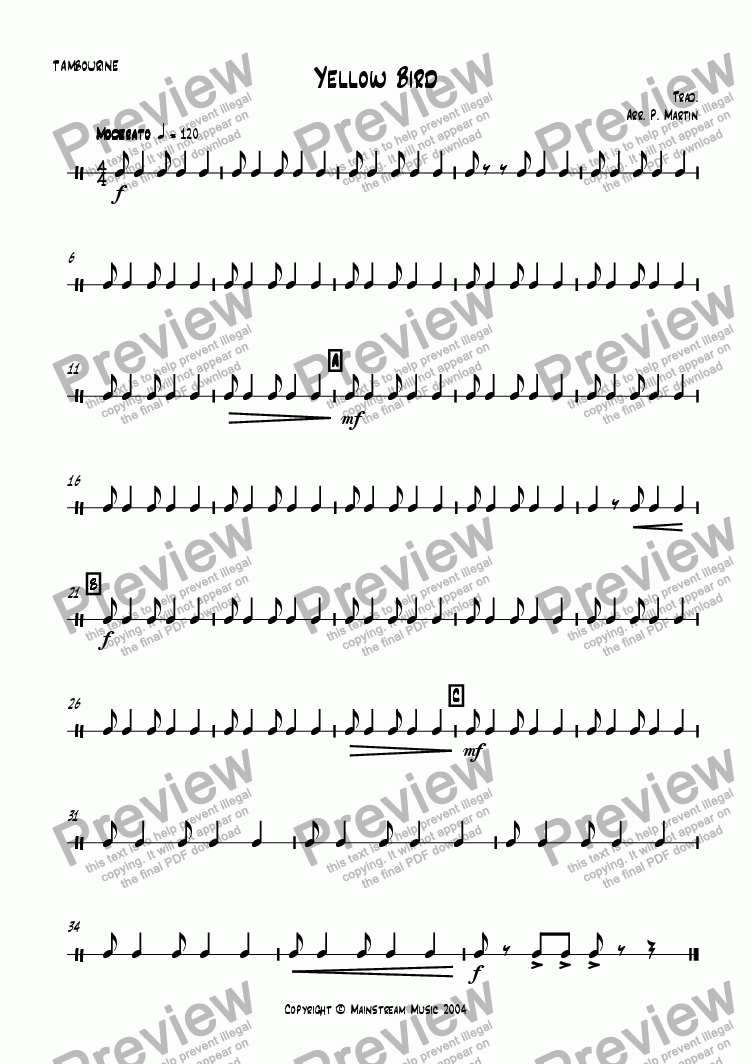 page one of the Percussion part from Yellow Bird