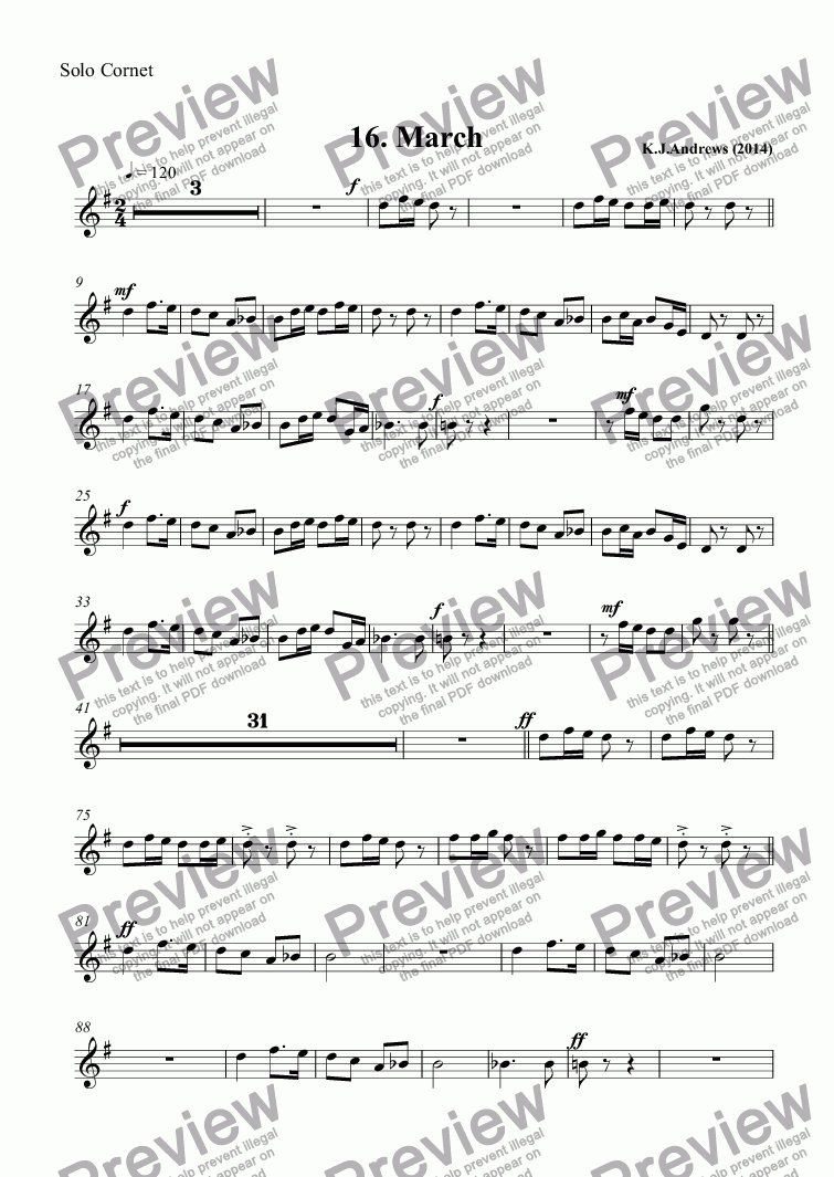 page one of the Solo Cornet part from Suite for Brass Band: 16.March