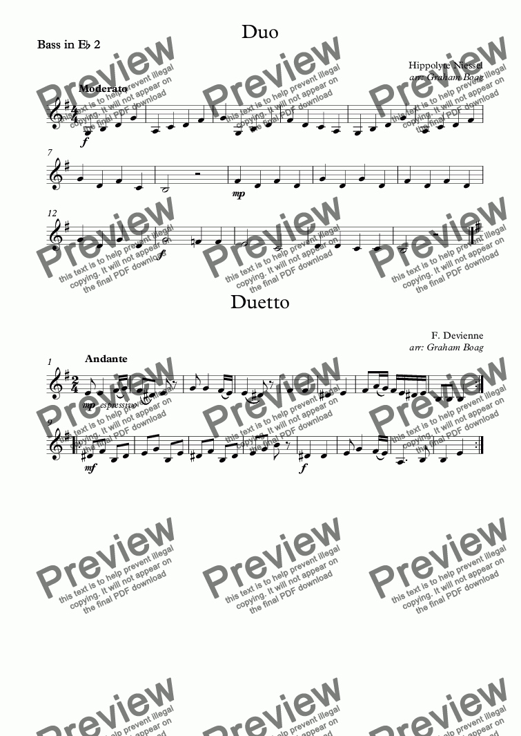 page one of the Bass in E^b 2 part from Two Duets for Tuba
