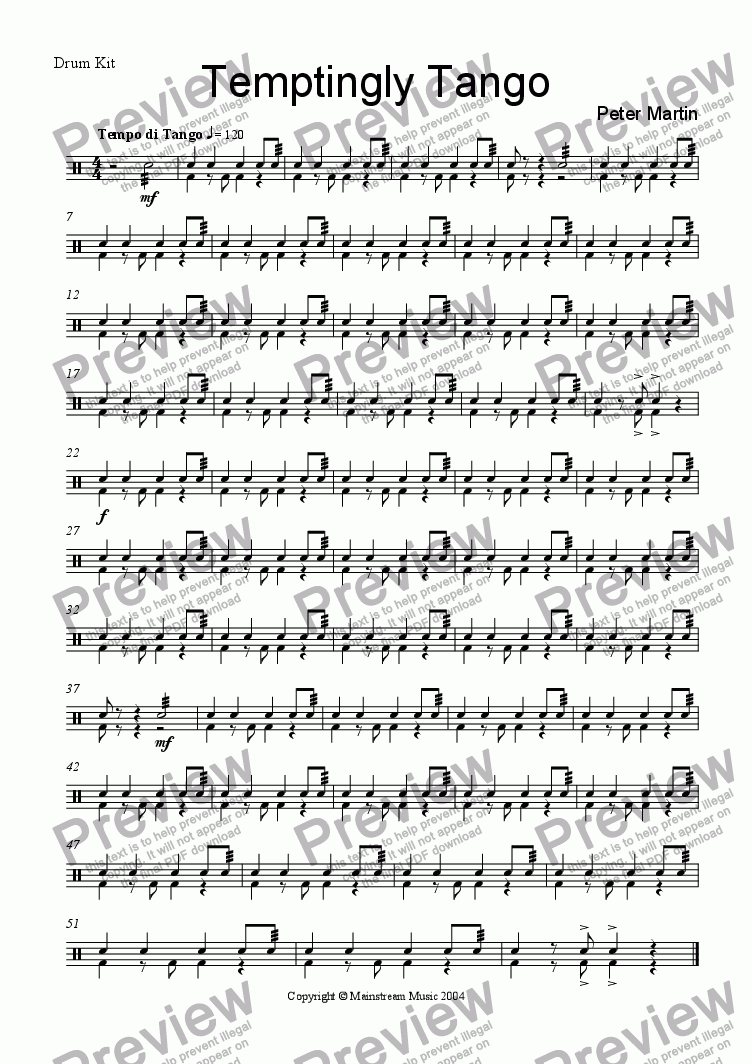 page one of the Drum Kit part from Temptingly Tango