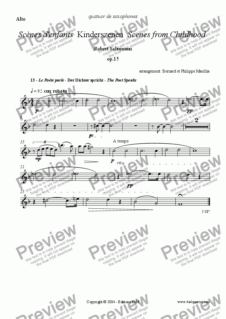 page one of the Alto part from Schumann - Kinderszenen #13 (Sax Quartet)