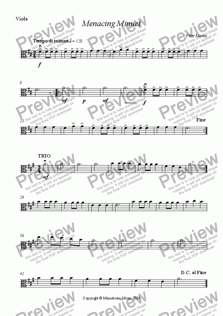 page one of the Viola part from Menacing Minuet