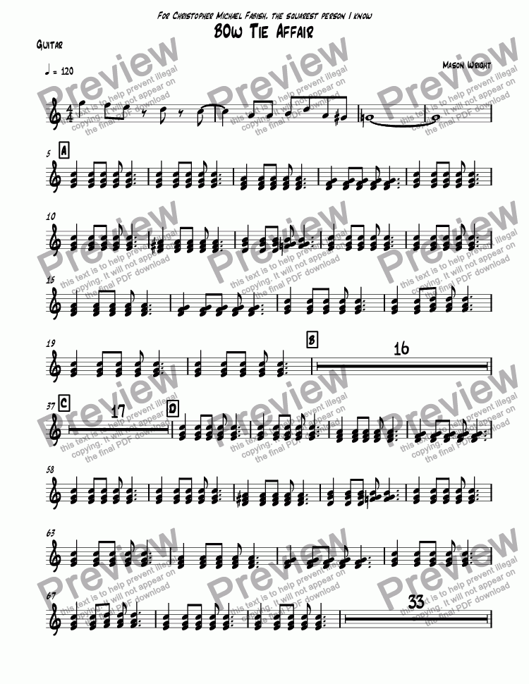 page one of the Guitar part from Bow Tie Affair