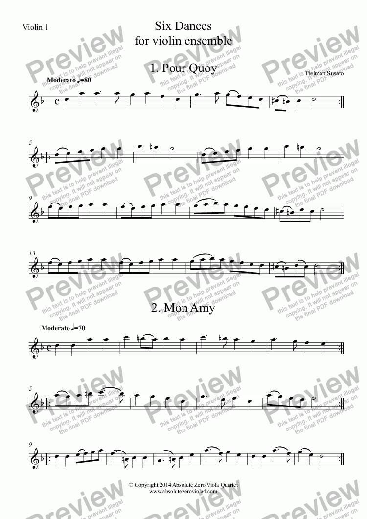 page one of the Violin 1 part from Susato - SIX DANCES - for violin ensemble