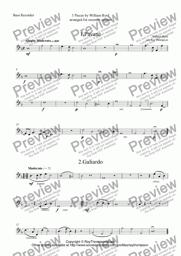 page one of the Bass Recorder part from Byrd: 3 Pieces for recorder quintet: 1.Pavane: The Earle of Salisbury 2.Galiardo 3.Victoria