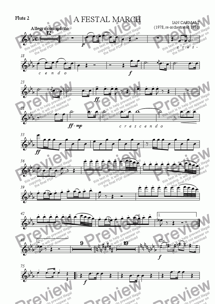 page one of the Flute 2 part from A Festal March