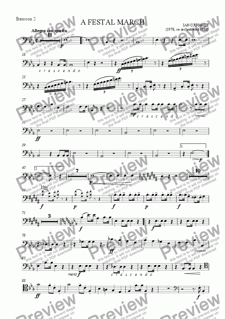 page one of the Bassoon 2 part from A Festal March