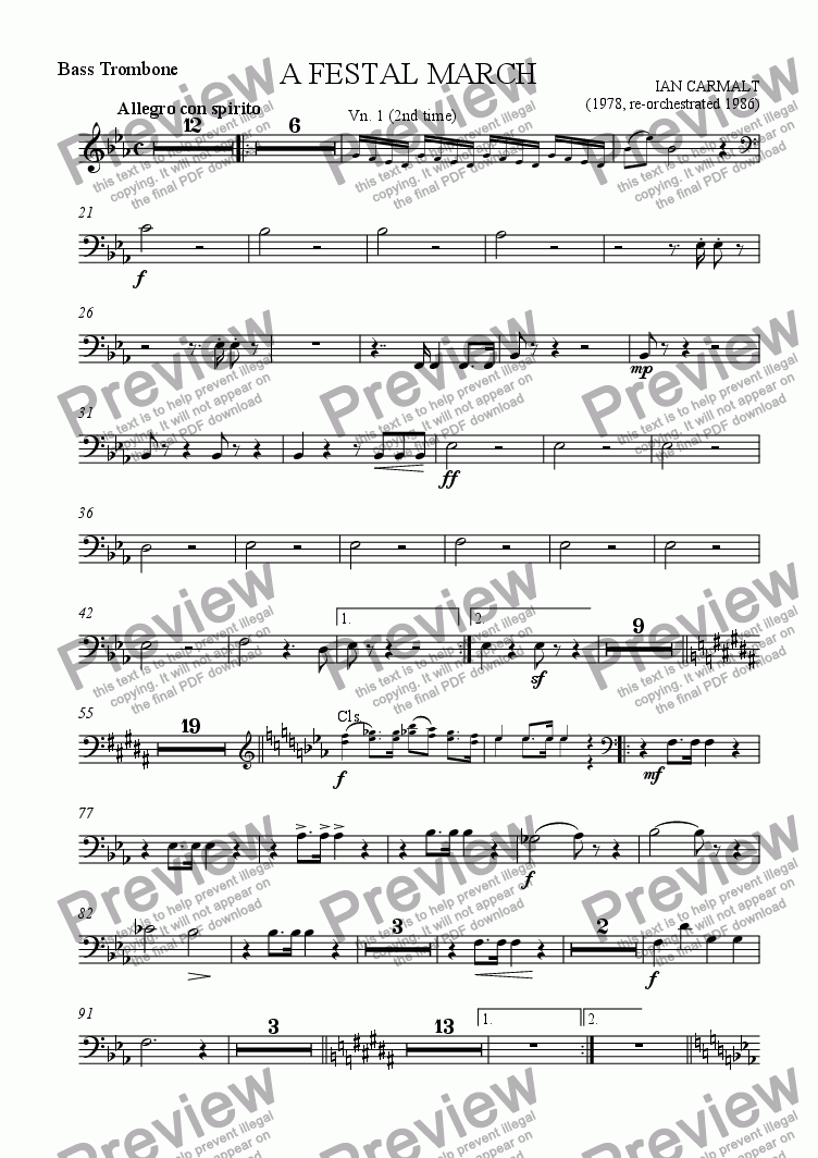 page one of the Bass Trombone part from A Festal March