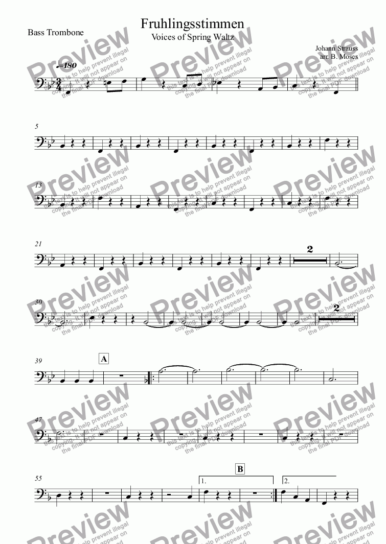 page one of the Bass Trombone part from Fruhlingsstimmen (Voices of Spring Waltz)