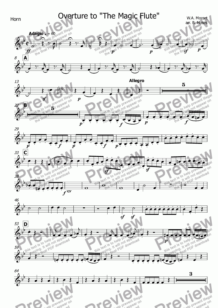 "page one of the Horn part from Overture to ""The Magic Flute"""