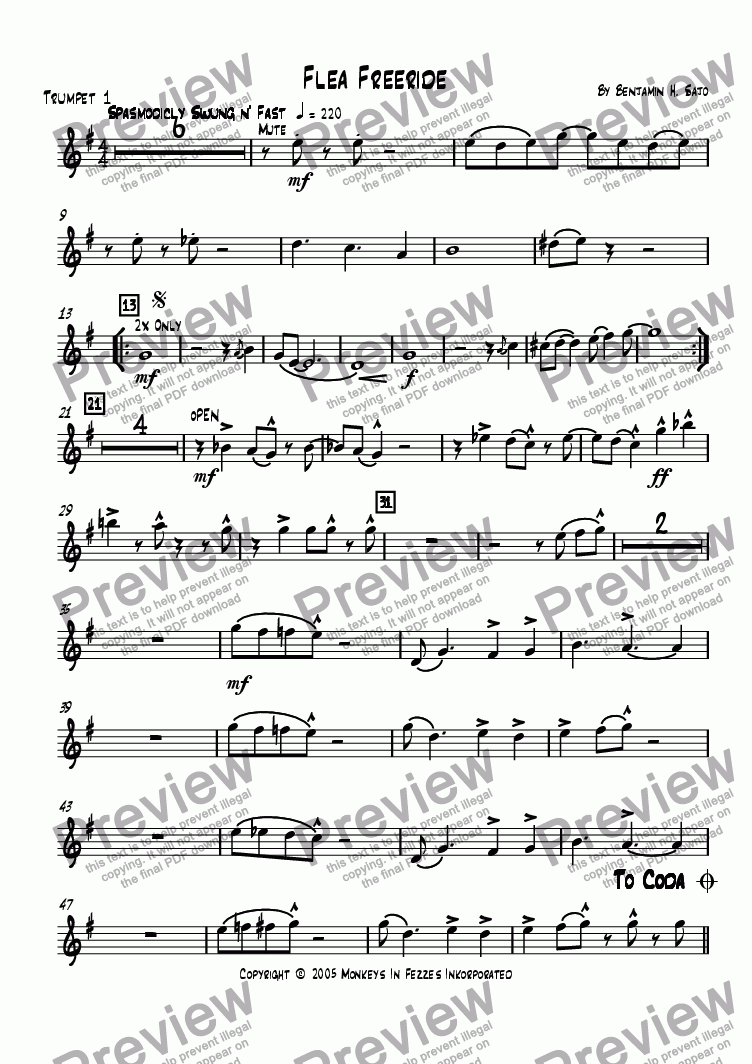 page one of the Trumpet 1 part from Flea Freeride