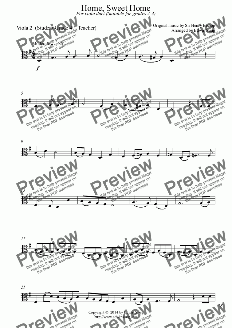page one of the Viola 2  (Student Grade 4 /  Teacher) part from Home, Sweet Home (for viola duet, suitable for grades 2-4)