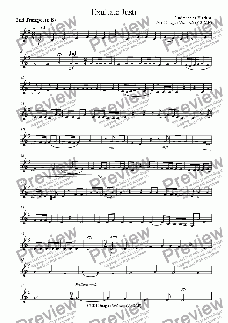 page one of the Trumpet 2 part from Exultate Justi