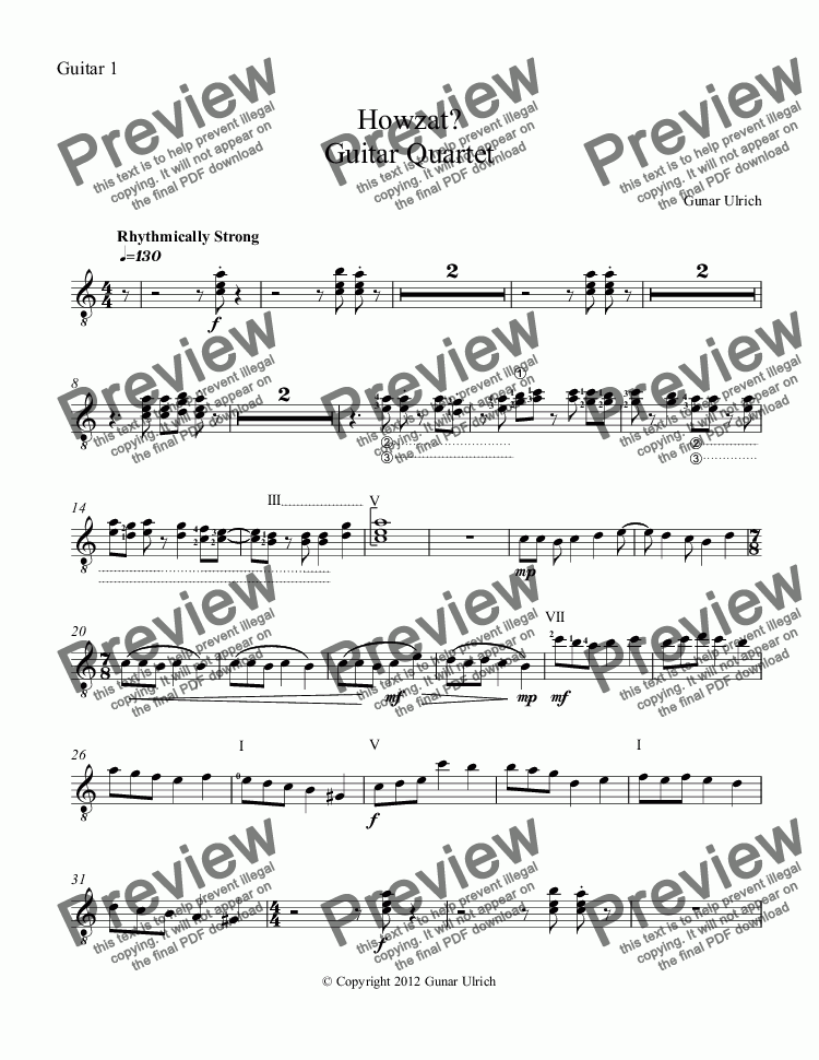 page one of the Guitar 1 part from Howzat?  Guitar Quartet