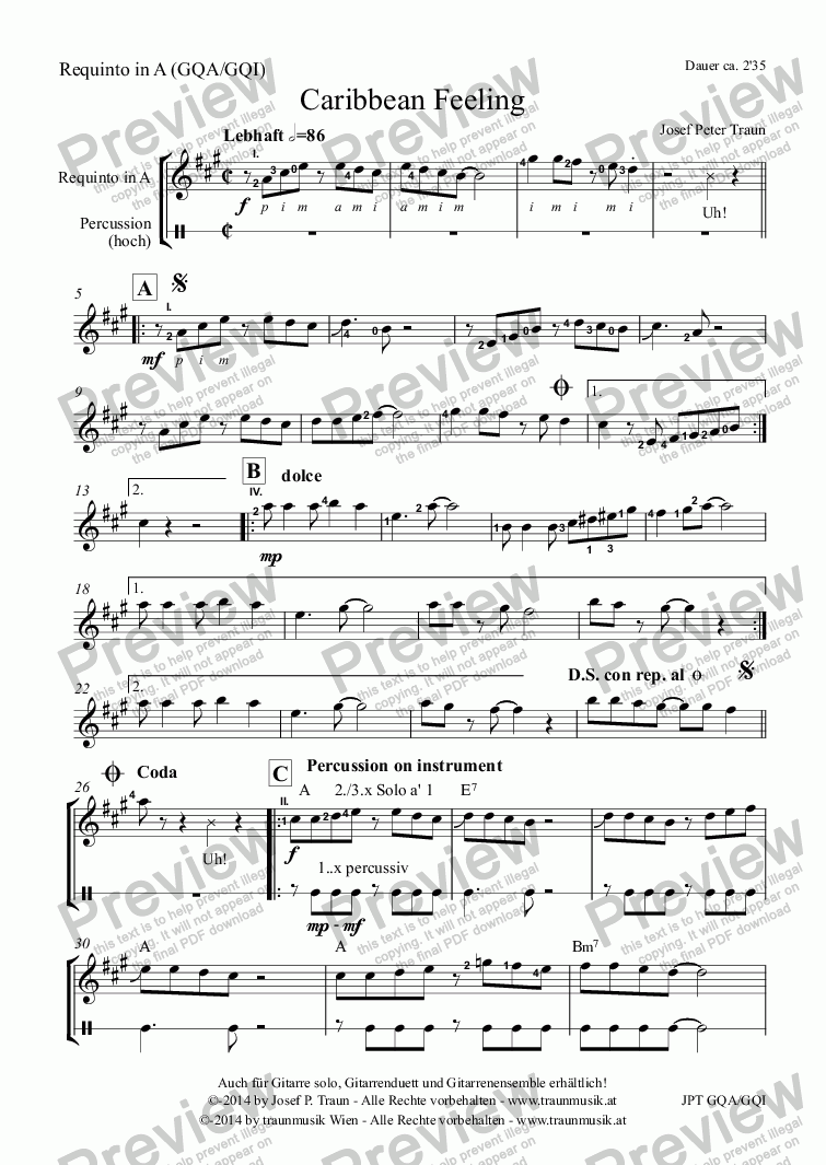 page one of the Requinto in A (GQA/GQI) part from Caribbean Feeling (GQA-GQI/Score & Parts)