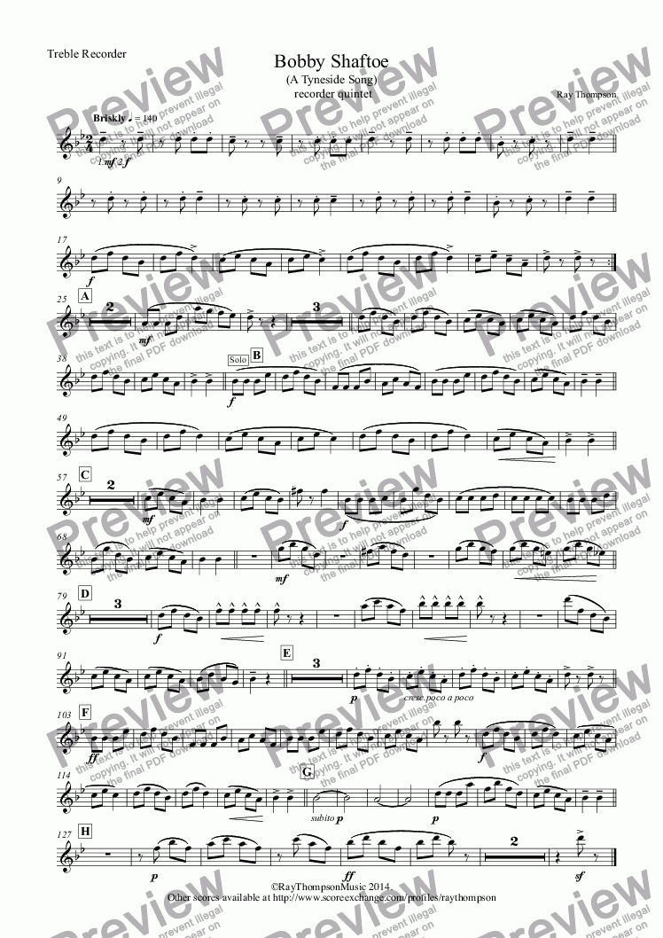 page one of the Treble Recorder part from Tyneside Songs: Bobby Shaftoe: An Original composition based on the traditional tune: recorder quintet