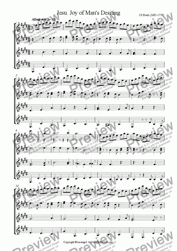 page one of the Guitar 4 part from Jesu, Joy of Man's Desiring
