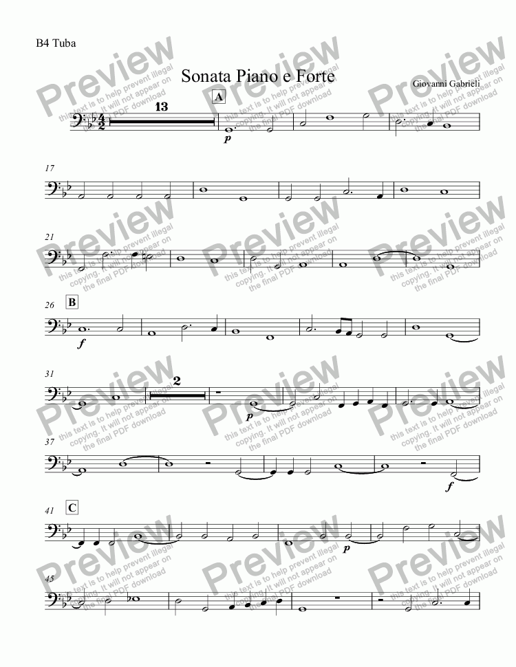 page one of the B4 Tuba part from Sonata Piano e Forte