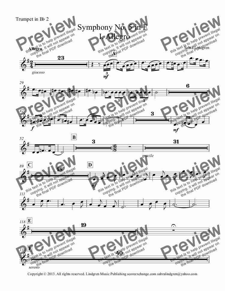 page one of the Trumpet in B^b 2 part from Symphony No. 5 in F   I. Allegro