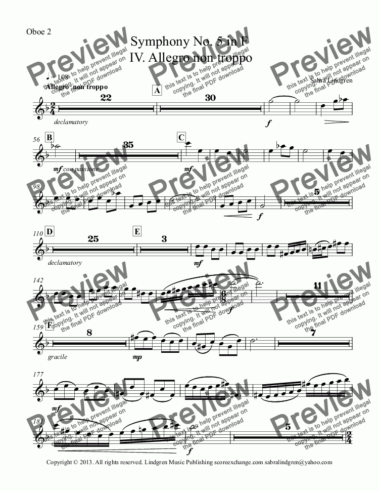 page one of the Oboe 2 part from Symphony No. 5 in F    IV. Allegro non troppo