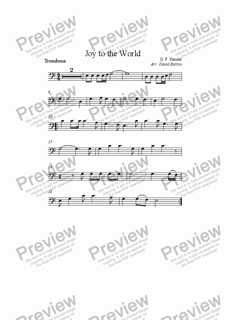 page one of the Trombone part from Joy to the World (church orchestra version)