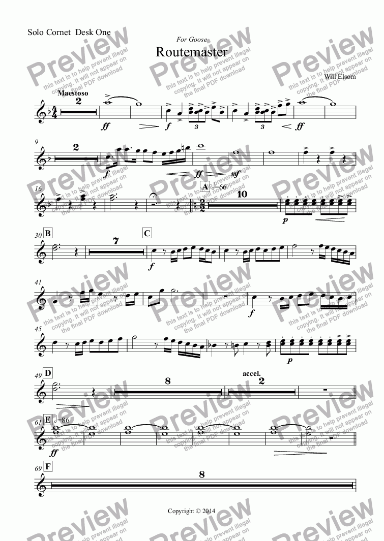 page one of the Solo Cornet  Desk One part from (BRASS BAND) Routemaster