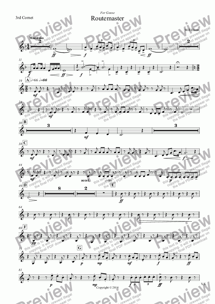 page one of the 3rd Cornet part from (BRASS BAND) Routemaster