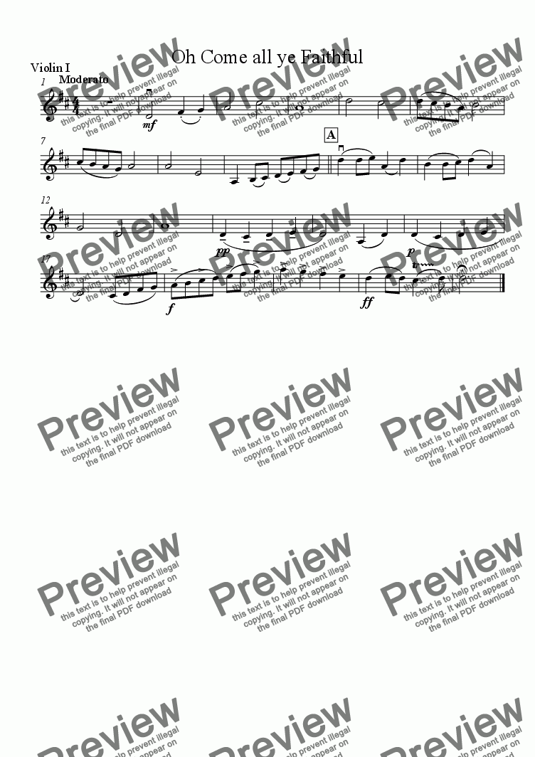 page one of the Violin 1 part from Oh Come All Ye Faithful - Download sheet music