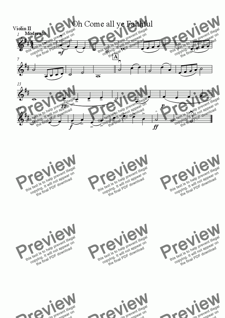 page one of the Violin 2 part from Oh Come All Ye Faithful - Download sheet music