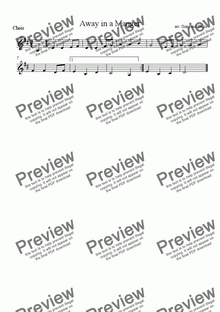 page one of the Choir part from Away in a Manger - Download sheet music