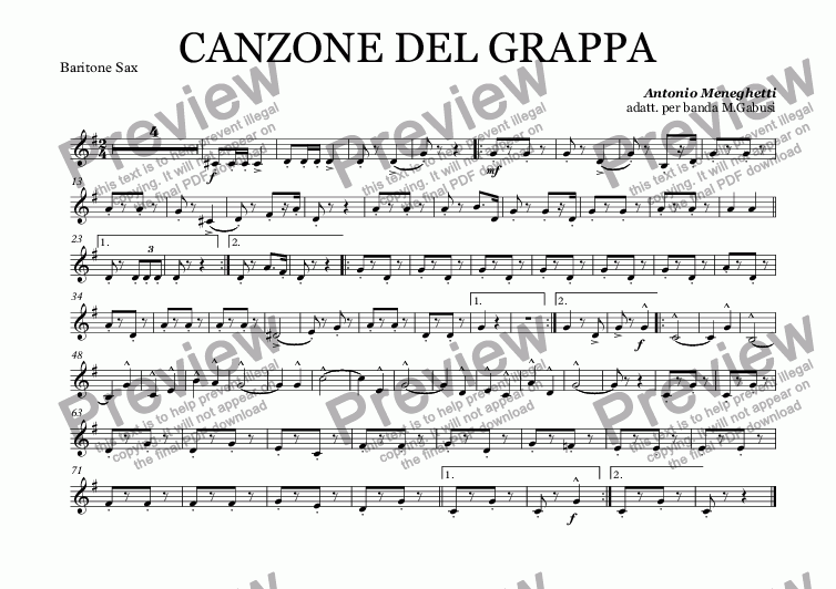 page one of the Baritone Sax part from CANZONE DEL GRAPPA