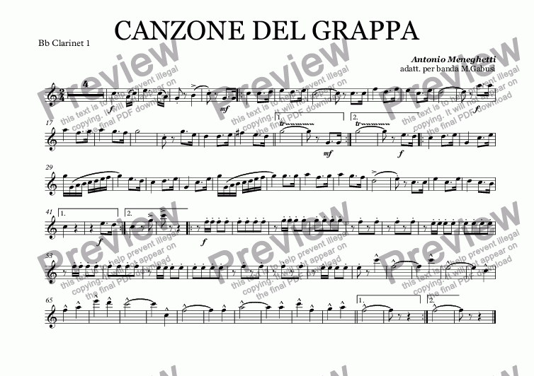 page one of the Bb Clarinet 1 part from CANZONE DEL GRAPPA