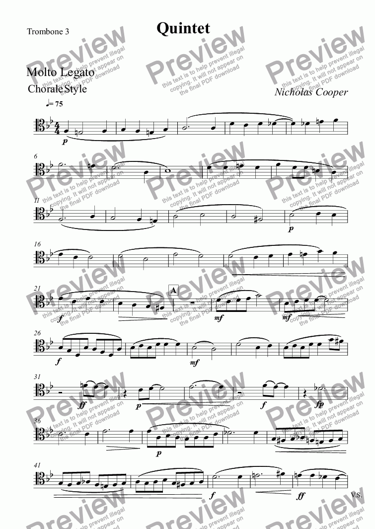 page one of the Trombone 3 part from Quintet