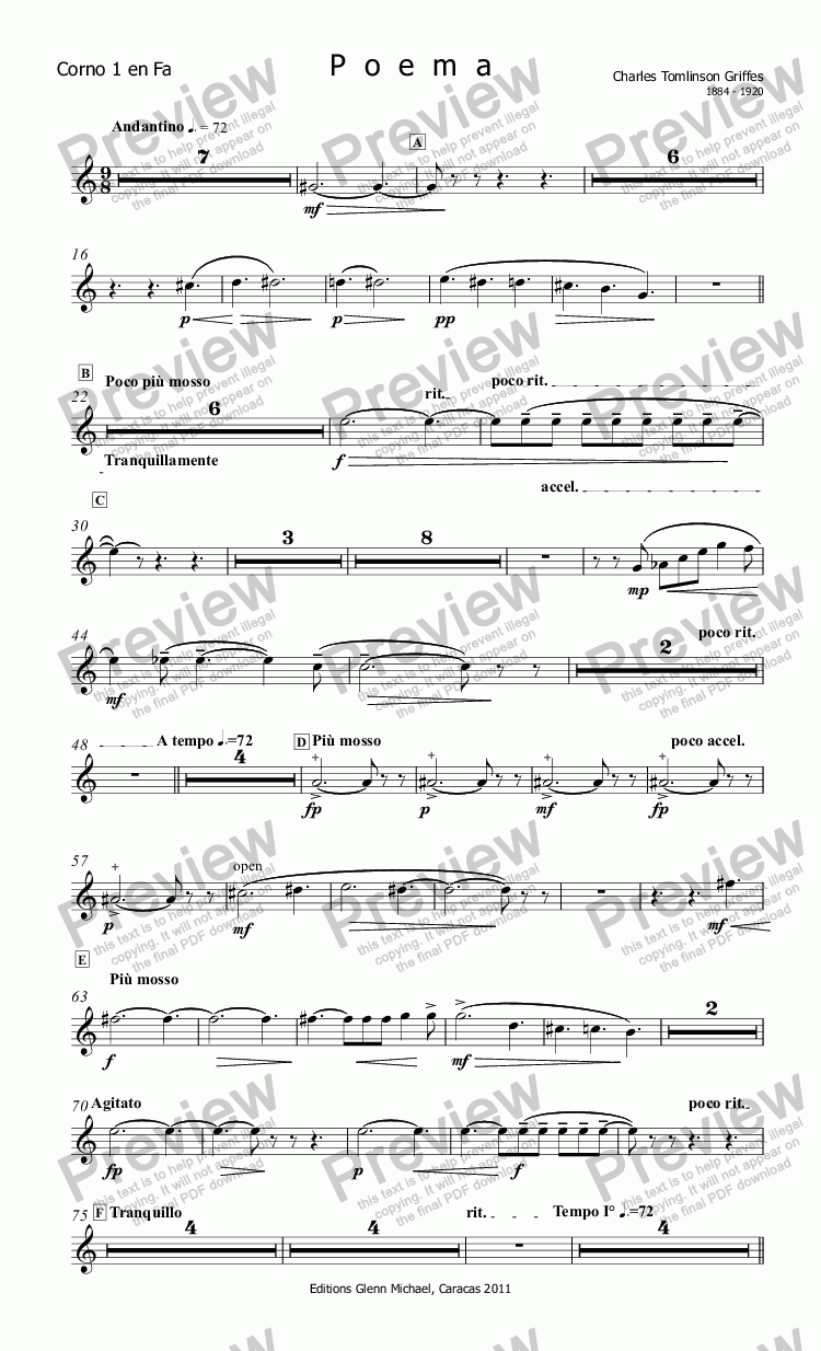page one of the Corno 1 en Fa part from Griffes, Poem for flute & small orchestra