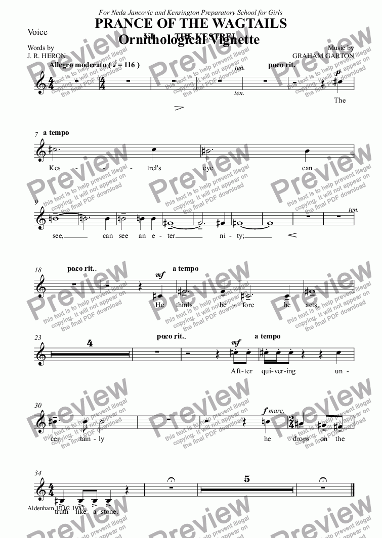page one of the Voice part from CHORAL BALLET for Children - PRANCE OF THE WAGTAILS  (Nickname 'Birdie Opera') for Solo and Unison Voices: Ornithological Vignette No.6 THE KESTREL