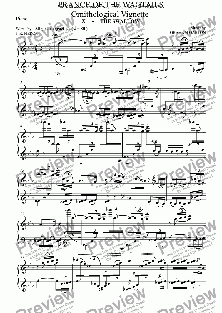 page one of the Piano part from CHORAL BALLET for Children - PRANCE OF THE WAGTAILS  (Nickname 'Birdie Opera') for Solo and Unison Voices: Ornithological Vignette No.10 THE SWALLOW
